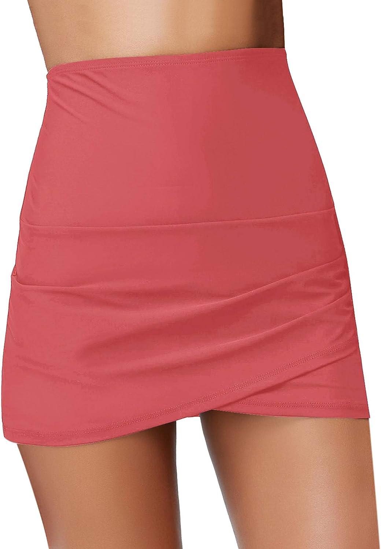 Luyeess Womens High Waisted Tulip Hem Swim Skirt Bikini Tankini Swimsuit Bottom