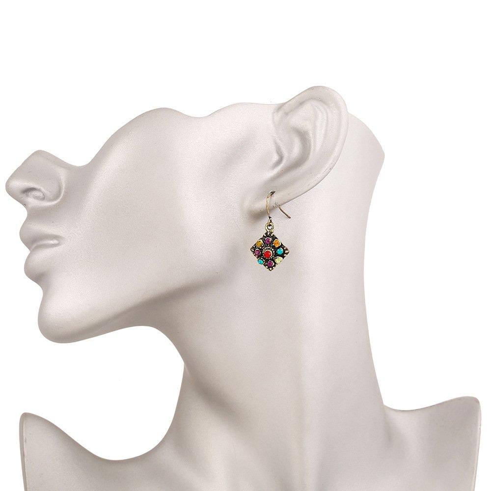 J Meng Vintage Bronze Ethnic Crystal Hook Earrings Boho Rhinestone Diamond Colorful CZ Dangle Earrings