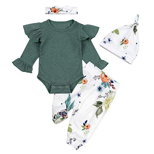 c347d6d79c52f Baby Girl Clothes Pink Hoodie Floral Pants with Headband for Newborn Infant  Toddler 3Pcs Outfit Sets 0-24 Months