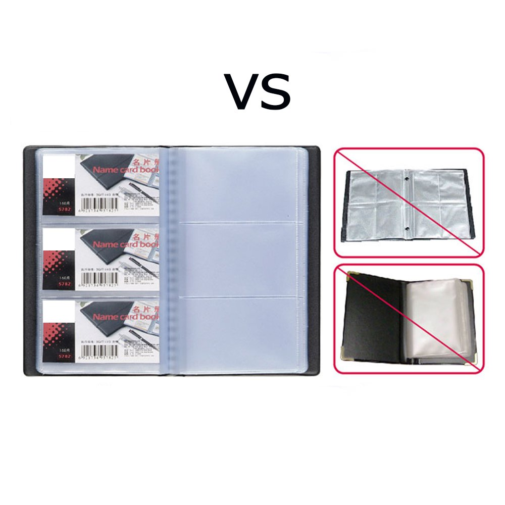 TLBTEK 180 Big Binder Multi-Business Card Hold Organizer Pamphlet Sheets, Two Sided Modern Multiple 4 Ring Name Card Book Holder,Cool Personalized Debit Id Card Holder with Inserts Tabs Black