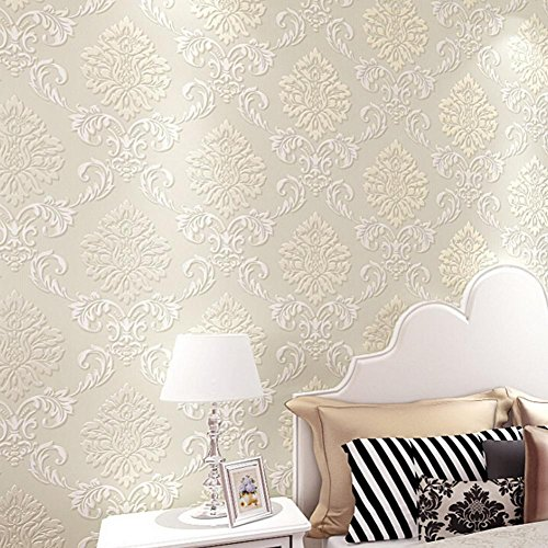 Non-Woven 3D Wallpaper, Print Embossed 10M Modern Stripe Fashion Wallpaper for Livingroom, Bedroom, Kitchen and Bathroom (Floral Print Wallpaper)