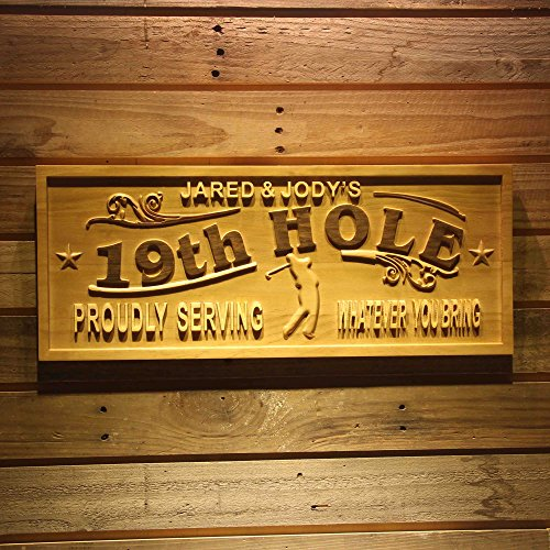 - ADVPRO wpa0381 Name Personalized Golf 19th Hole Club House Decoration Gifts Wood Engraved Wooden Sign - Standard 23