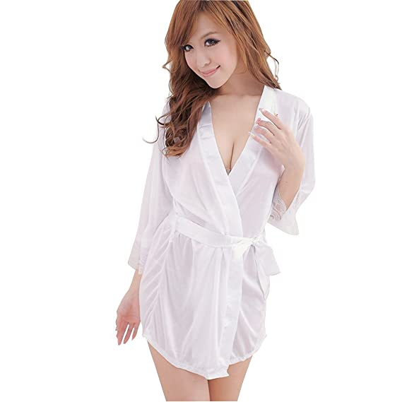SHINA Mujer Bata de Dormir Pijama de Imitación Seda Slip Vestido de Cinturón Ropa de Dormir