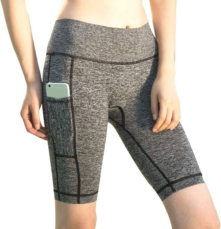 Puimentiua Yoga Pantalones Cortos de Mujer Leggings Deportivas con Bolsillo Lateral para Ejercicio