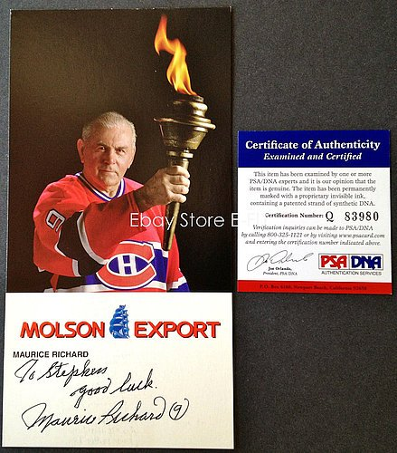 maurice-richard-signed-4x8-molson-export-picture-auto-psa-dna-certified-autograph-canadiens