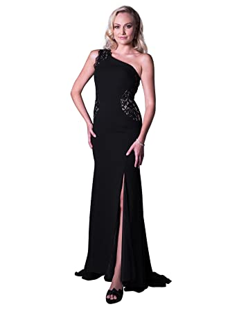Angel Formal Dresses Womens One Shoulder Train Slit Chiffon Lace Evening Prom Dress - Black -