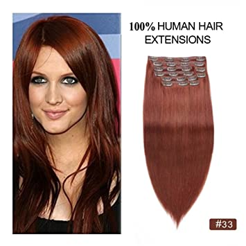 Dark Auburn Clip In Hair Extensions 220g Re4u 24 Copper Red Straight Clip On Extensions 220grams