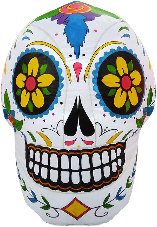 ProductWorks 4-Foot Spooky Town Day of The Dead Sugar Skull Yard Art Décor Inflatable Halloween Display