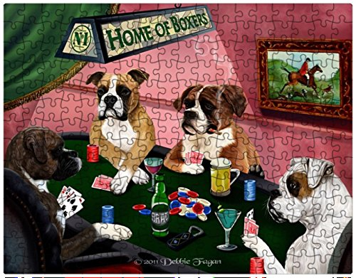 Home of Boxers Puzzle 252 Piece with Photo Tin 4 Dogs Playing Poker (Boxers Poker)