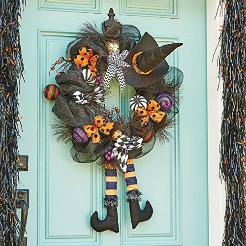 Halloween Wreaths (Halloween Wreath Door Hanger With Witch Hat Legs Pumpkin Black Ribbon Berries Gourds)