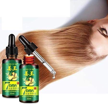 Aceite de crecimiento del cabello, KOBWA Natural Ginger Germinal Essential Oil Tratamiento para pérdida de cabello, promueve pelo más grueso y cabello más ...