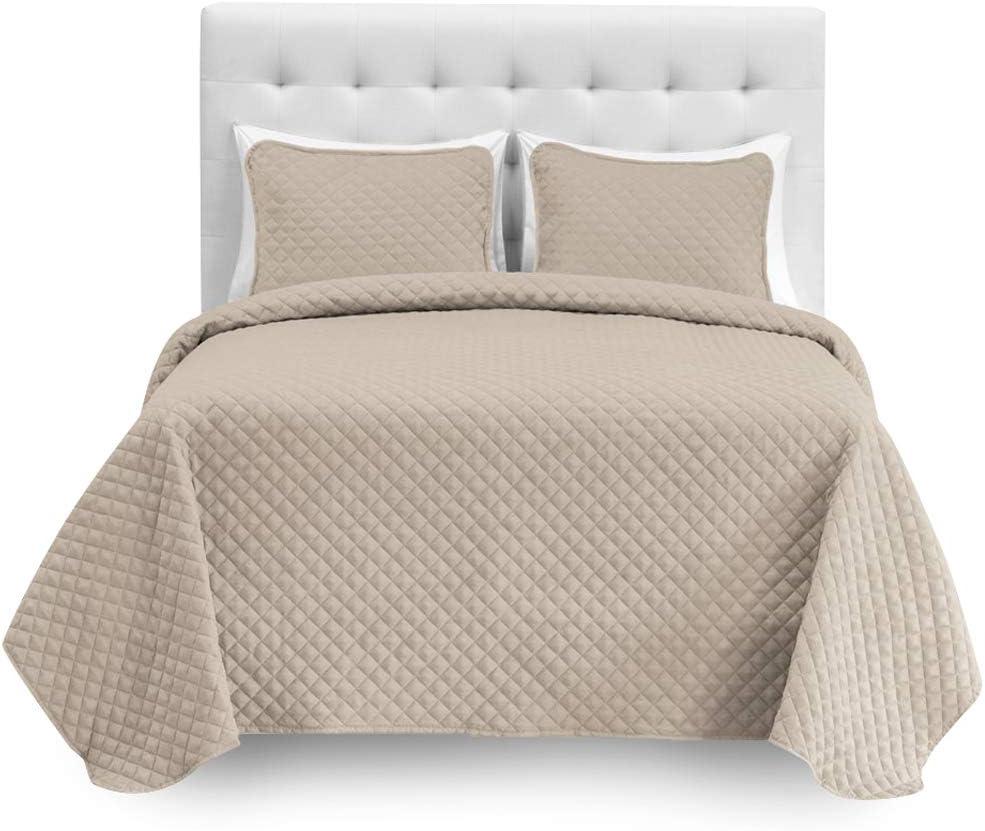 Bare Home 8 Piece Split Queen Coverlet Set + Microfiber Sheet Set - Diamond Stitched Lightweight Bedspread - Ultra-Soft Microfiber Sheet Set (Coverlet Set: Sand, Sheet Set: White)
