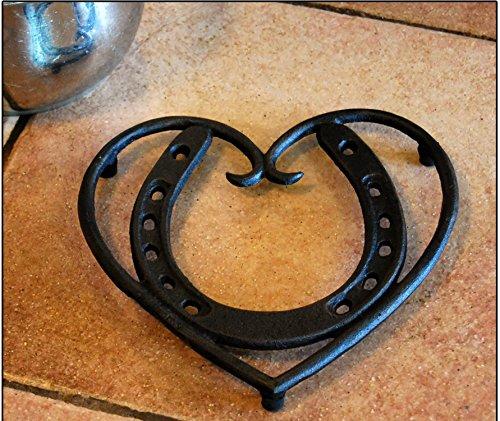 Investment Versatile Cast Iron Horseshoe Heart Trivet opportunity