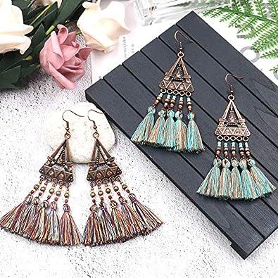 TIDOO Jewelry Womens Bohemian Tassel Long Dangle Earrings Vintage Ethnic Earrings for Girls