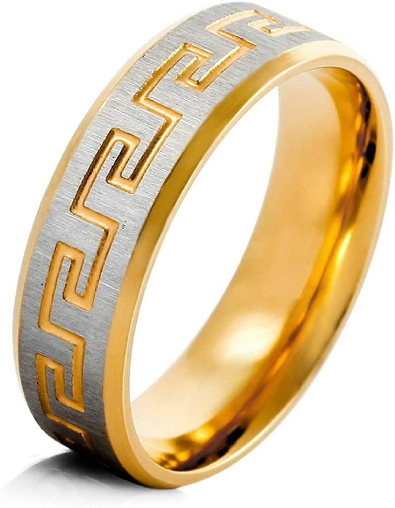 Aooaz Acier Inoxydable Hommes Bagues Grec Or Argent Bagues R/étro Bague Mariage Gravure Gratuit