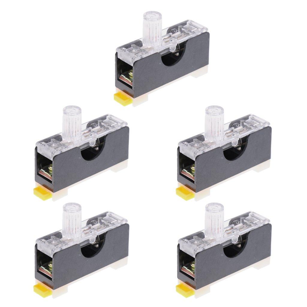 Homyl 5 Sets DIN Rail Plastic Fuse Holder Base with FS101 Fuses 250V 10A 6*30mm