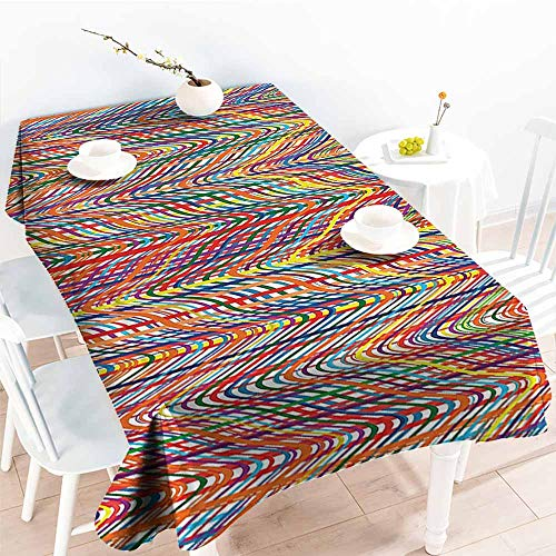 Mixed Stripe Table - HRoomDecor Decor Collection Table Cloths,Abstract,Colorful Zigzag Pattern with Mixed Contrast Messy Tone Lines Modern Stripes Image,Multicolor 60
