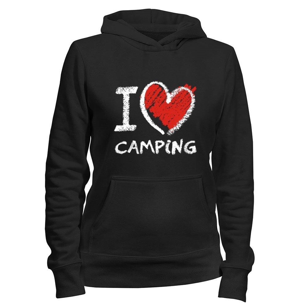 Women Hoodie Hobbies Idakoos I Love Camping Chalk Style