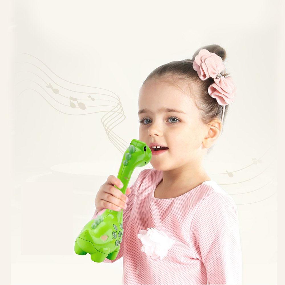 HANMUN Dinosaurs Music Microphone Karaoke,Protable Wireness Musical Microphone Voice Changing and Recording Microphone Toy Play & Sing with Cable Learning Toy for Toddlers …