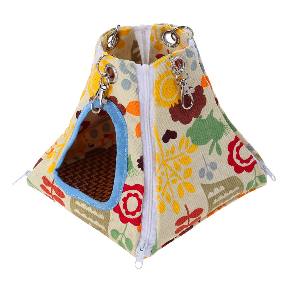 POPETPOP Hamster Hammock Tent-stype Zoo Theme Printed 24x24x24cm Summer Cool Nest Hanging Bed House for Ferret Rabbit Rat Hamster Squirrel Parrot