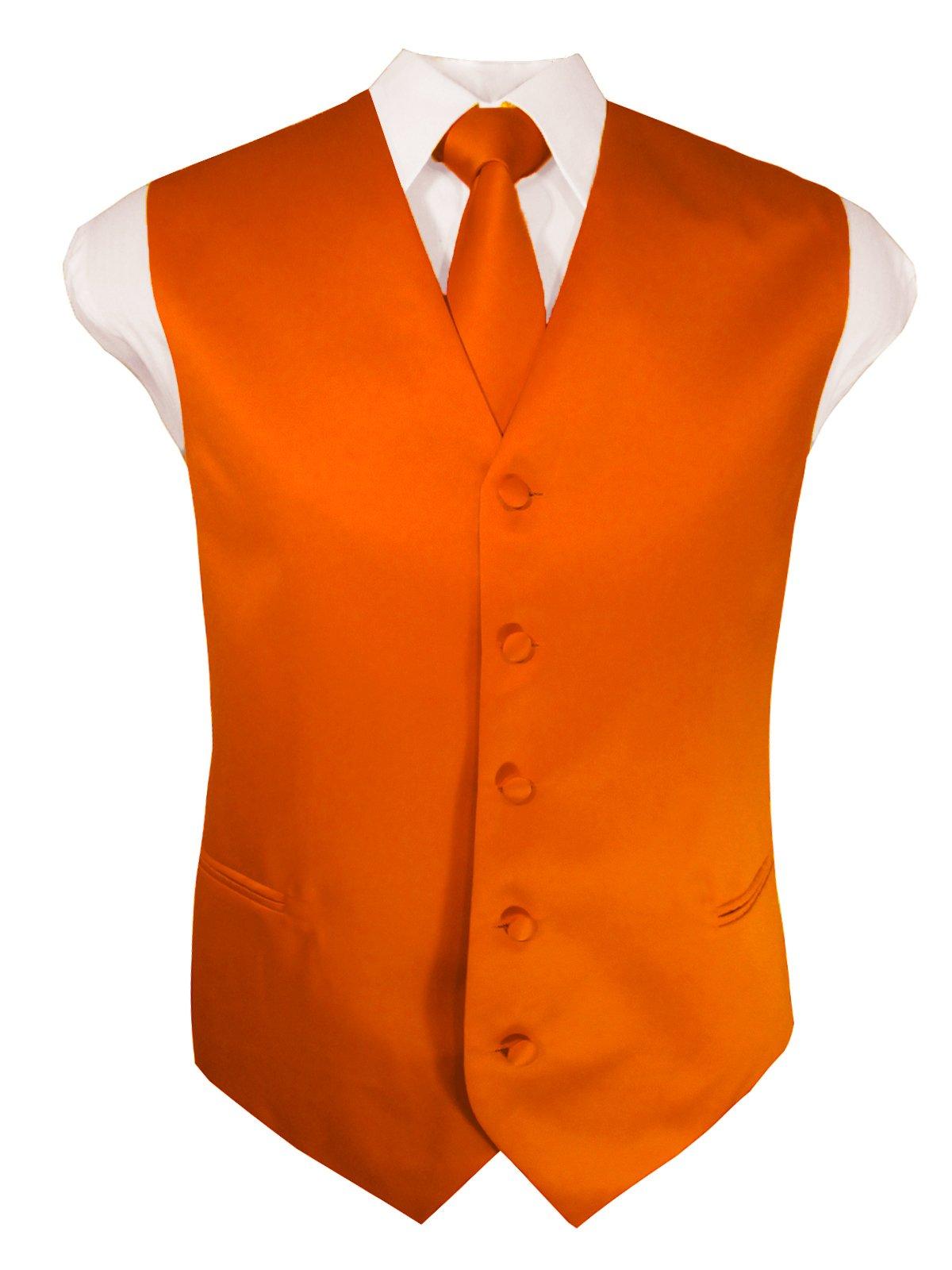 Guytalk Mens 3 Piece Tuxedo Vest for Formal Party, Wedding, Prom, Bartender XXXXL Orange