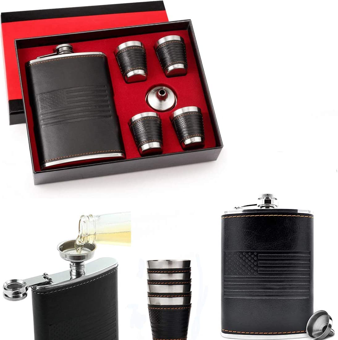 9 Ounce American Flag Flask Gift sets for Men- 18/8 Food Grade Stainless Steel Leak Proof with With Funnel and 4 Cups