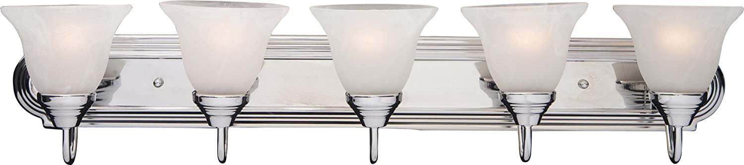Maxim 8015MRPC Essentials 5-Light Bath Vanity, Polished Chrome Finish, Marble Glass, MB Incandescent Incandescent Bulb , 20W Max., Dry Safety Rating, 3000K Color Temp, Standard Triac Lutron or Leviton Dimmable, Opal Glass Shade Material, 1100 Rated Lumens