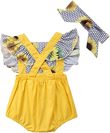 FYMNSI Baby Girl Sunflower Outfit Newborn Infant Toddler Kids Summer One-Piece Jumpsuit 1st Birthday Cake Smash Strap Backless Bodysuit Romper