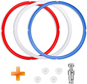 3 Pack Silicone Sealing Ring with Replacement Parts for Pot Duo 5, 6 Quart,Food Grade Pressure Cooker Silicone Gasket Accessories and Replacement Float Valve - Insta Pot Accessories Fit for 6QT