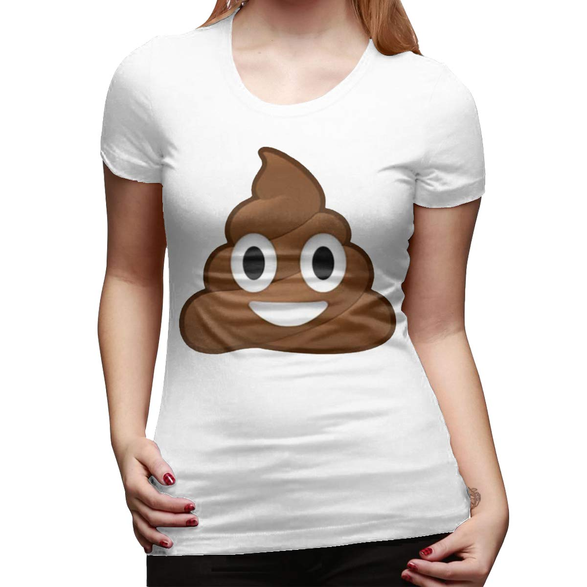 Kemeicle Womens Emoji Poop Shit Print Short Sleeves T Shirt