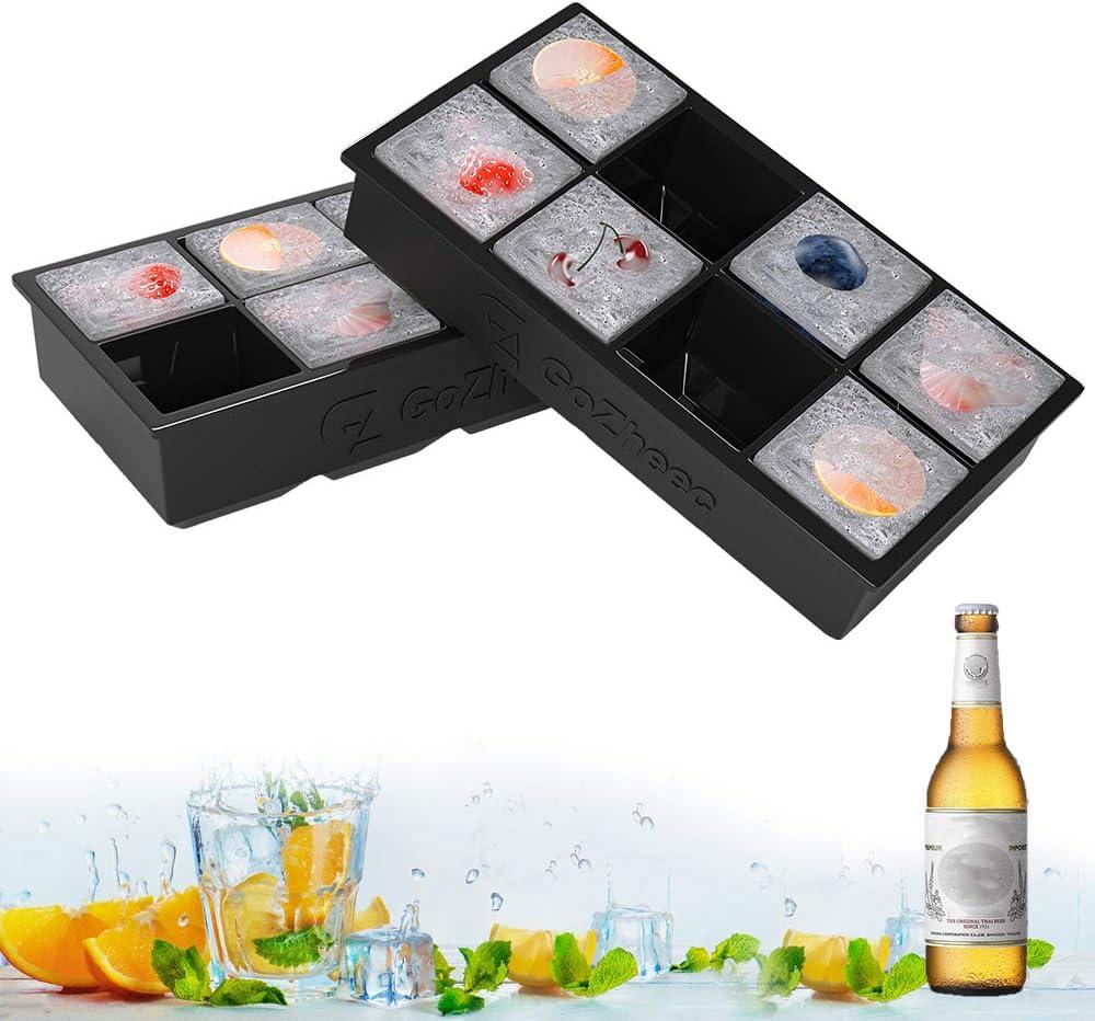 Bandeja De Hielo De Silicona, [2 Pack] 16 XL cubitera hielo Molde para Hielos, Bandeja de Cubitos de Hielo para Congelarse Alimentos para Bebés, Cola,Cócteles Cola Whisky