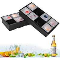Ice Cube Trays, 2 Pack XXL Silicone Large 2 Inch Square Ice Cube Mould for Whiskey, Cocktails & Wine