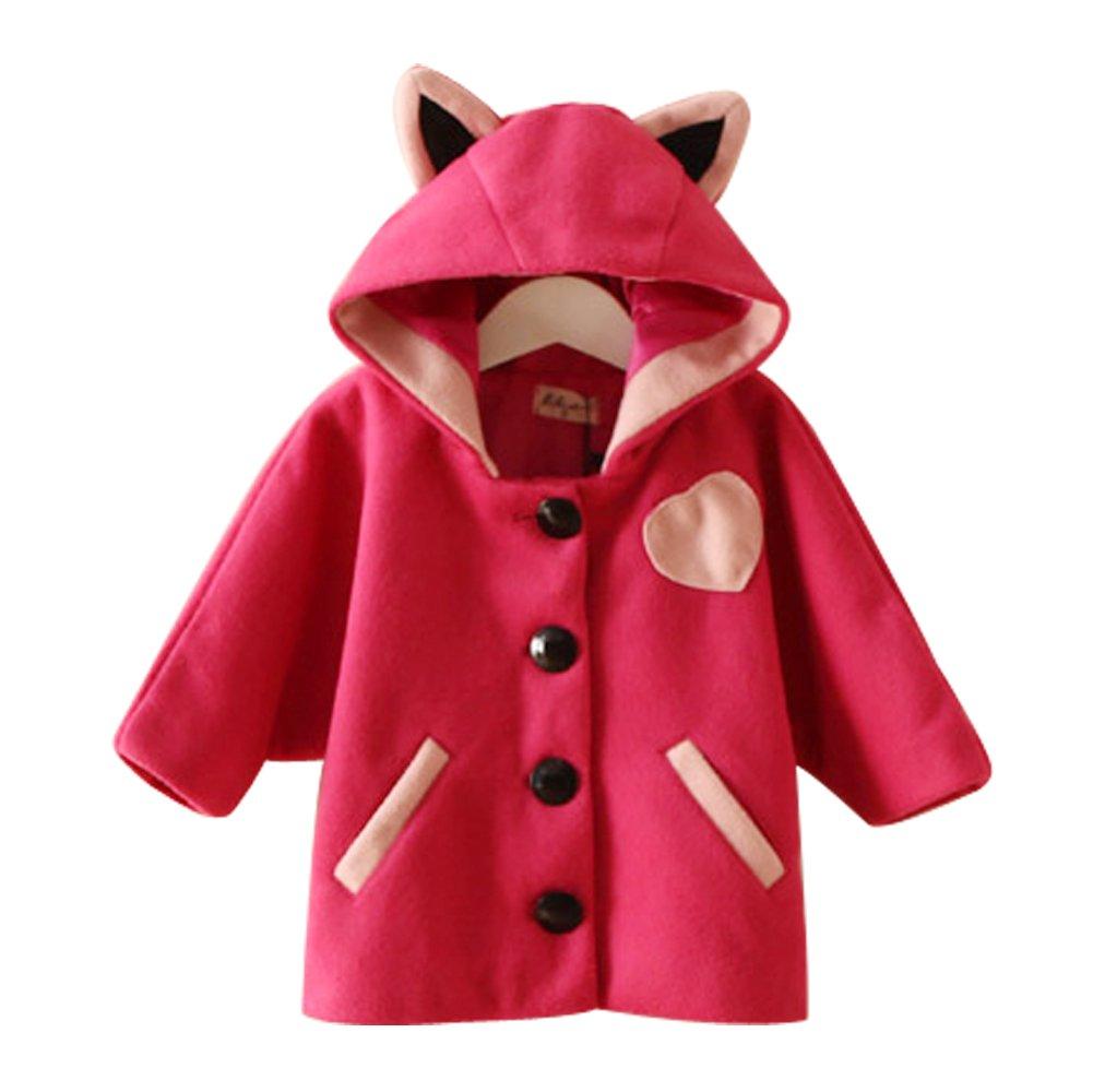 LINGGO Kids' Girls Cute Funy Cartoon Little Cat Ear Tail Modeling Comfortable Breathe Stereo Sport Warm Woolen Hoodies Coat