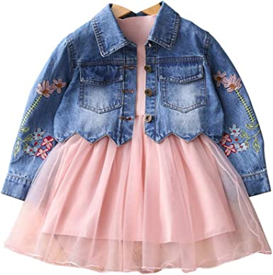Baby Toddler Girls Princess Two Pieces Clothing Set Denim Jacket Coat with Long Sleeve Tulle Tutu Dress