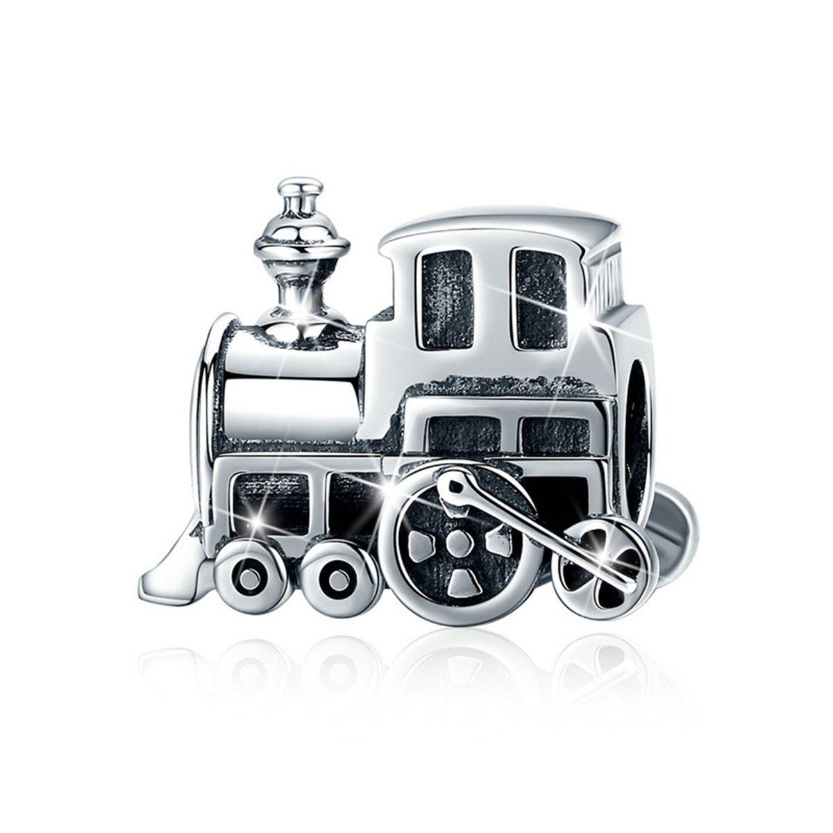 BAMOER Sterling Silver Travel Train Engine Charm Bead for DIY Charm Bracelet