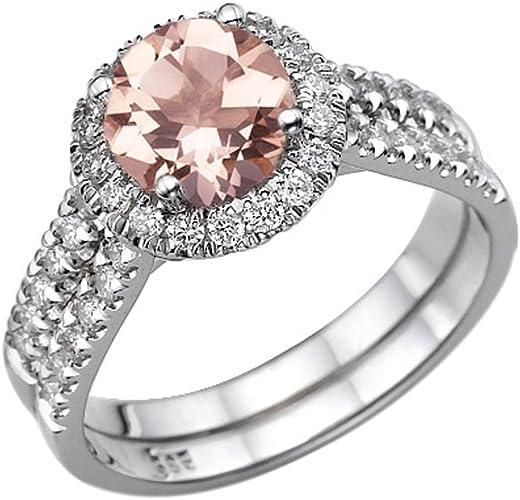 1.50 Ct Morganite /& Natural Diamond 3 Stone Ring 14K Gold