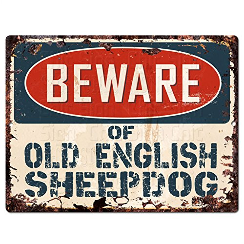 """Beware of OLD ENGLISH SHEEPDOG Chic Sign Vintage Retro Rustic 9""""x 12"""" Metal Plate Store Home Decor Gift"""