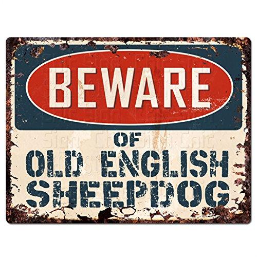 Beware of OLD ENGLISH SHEEPDOG Chic Sign Vintage Retro Rustic 9