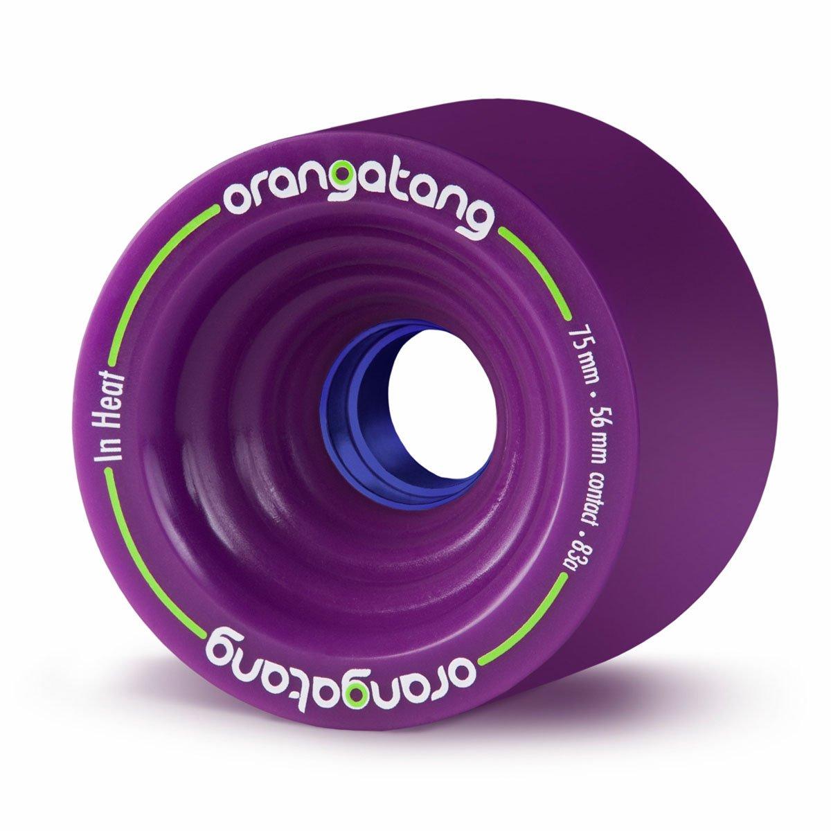 Orangatang in Heat 75 mm 83a Downhill Longboard Skateboard Cruising Wheels w/Loaded Jehu V2 Bearings (Purple, Set of 4) by Orangatang