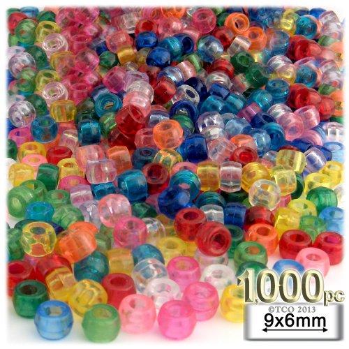 Plastic Round Beads (1,000pc Plastic Round Transparent Pony Beads 6x9mm Multi Mix beads)