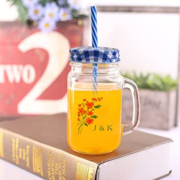 amazon com vintage floral monogram mason cup with lid straw