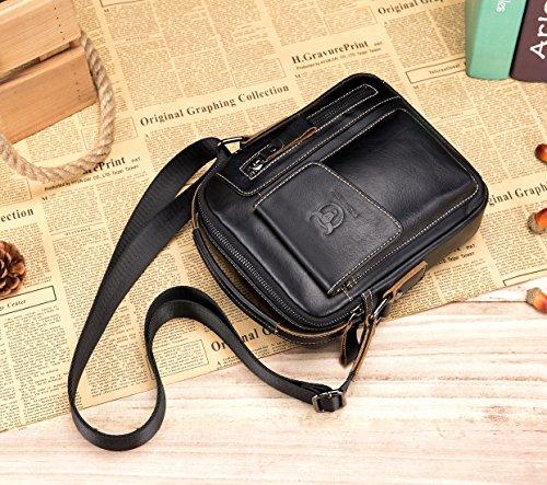 Genuine Leather Men Bags Small Shoulder Crossbody Bag for Men Everyday Casual Travel Messenger Bag Handbag (black) by BULLCAPTAIN (Image #6)