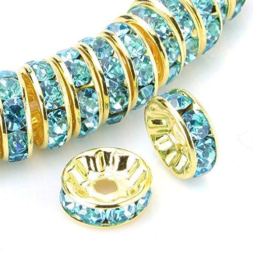 RUBYCA 100pcs Round Rondelle Spacer Bead Gold Tone 6mm Aquamarine Blue Czech (Aquamarine Rondelle Beads)