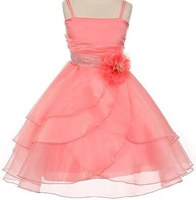 47612c855c Amazon.com  Little Girls Spaghetti Strap Ruffle Layered Flowers Girls  Dresses  Clothing