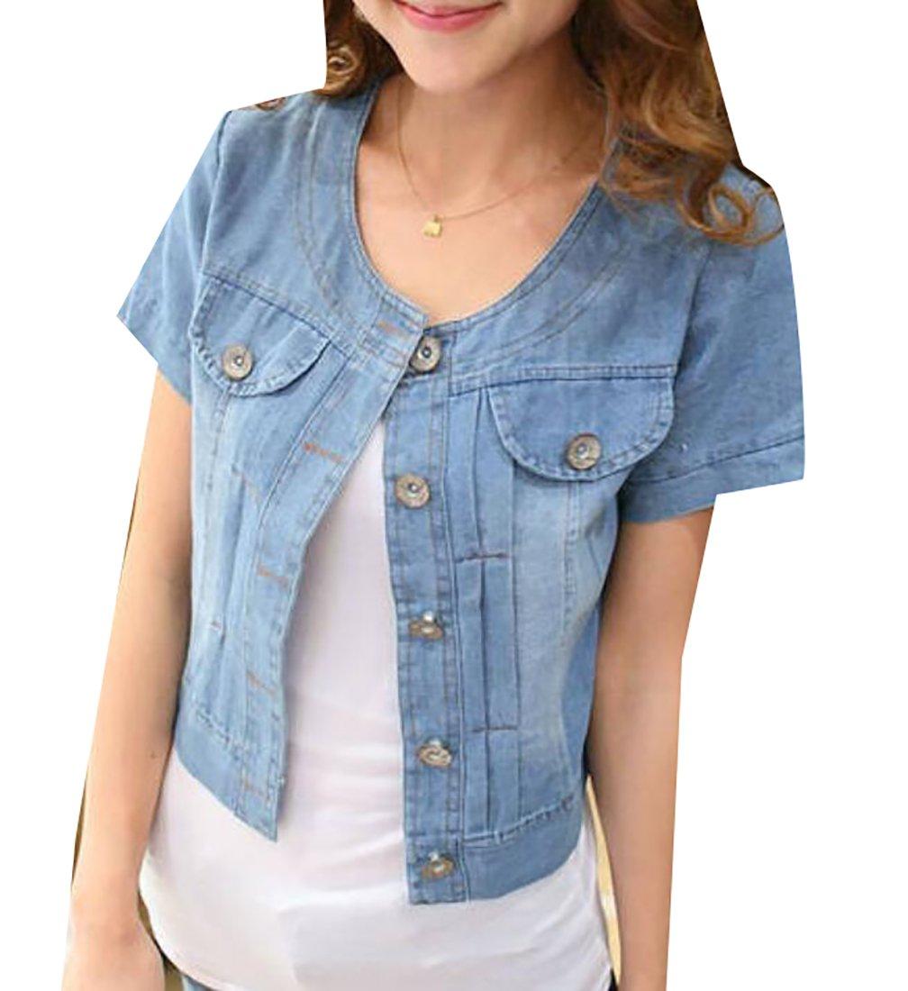 WAYA Womens Fashion Short Style Short Sleeve Denim Jackets Outwear Dark Blue XL