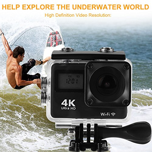 Acouto Wifi Action Camera 4K Ultru HD 2 Inch Touch Screen Camera 12MP 170 Degree Wide Angle View Sport Cam Underwarter Camcorder with Waterproof Housin Case,Remote Controller Accessories Kit by Acouto (Image #4)