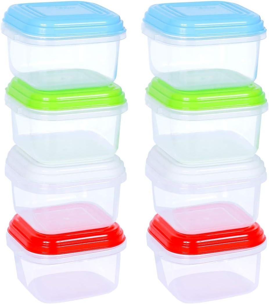 ARSUK Recipientes para comida de bebé 120 ml, envases de conservación de plástico reutilizables sin BPA, apilables, aptos para microondas y congelador (8 piezas)