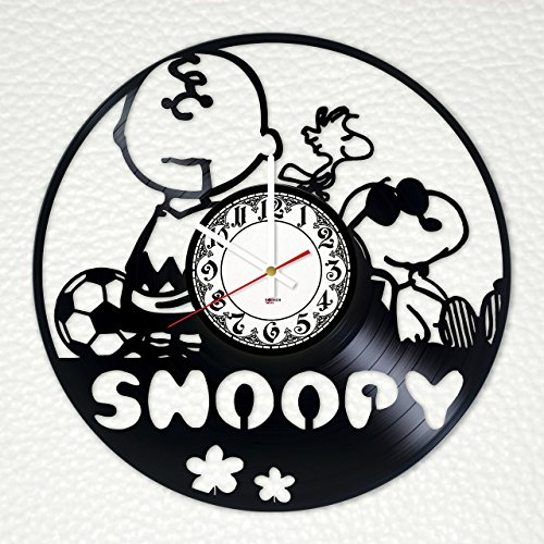 """BorschToday Snoopy Handmade Vinyl Record Wall Clock - Get Unique Bedroom or Nursery Wall Decor - Gift Ideas for Kids, Boys and Girls ??"""" Funny Dog Unique Art Design"""