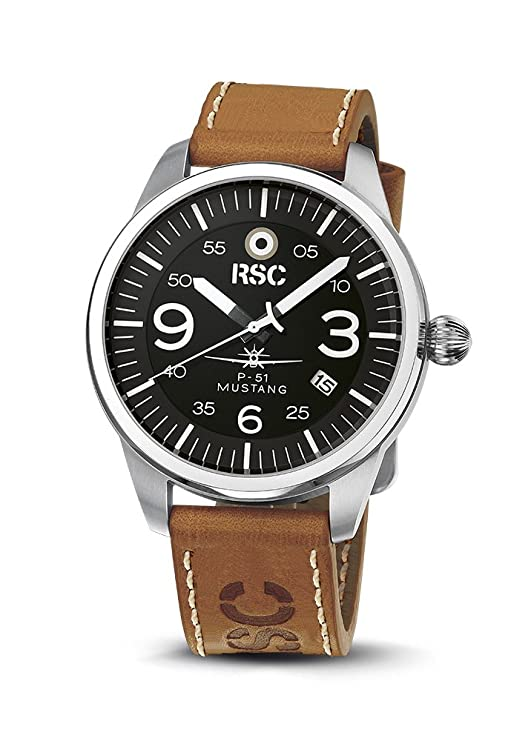 Amazon.com: RSC Pilot Watches Mens Analogue Quartz Watch with Leather Bracelet P-51 Mustang rsc1303: Watches