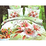 TADA Planet Pink Flowers on Green 4 piece Polyester Twill Bedding Set Duvet Cover Bed Sheet Pillow Cases Full Size 3D Print Design Collection